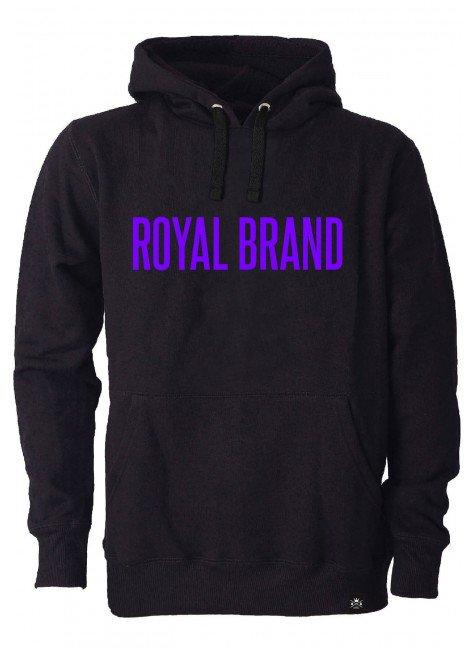 moletom preto royal brand escrita roxa